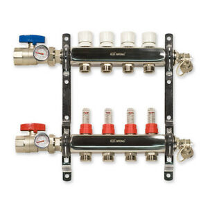 Stainless Steel Radiant Heat Manifold 4 loop
