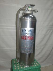 Vintage General Water Pressurized Silver Fire Extinguisher Ws 600