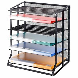 6 Tier Black Metal Wire Mesh Vertical Trays Document File Holder Office Sorter