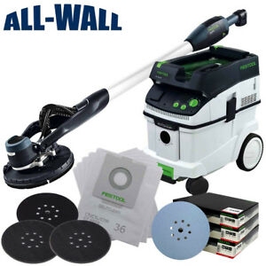 Festool Dustless Drywall Sander & Vacuum Pro Kit w Sanding Discs Filter Bags