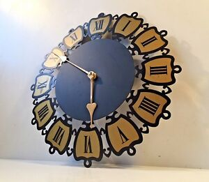 Vtg 1960s Mid Century Sputnik Brass Wall Clock German Georg Nelson Eames Era