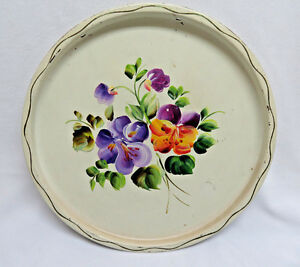 Vintage Hand Painted Round White 11 Metal Tole Tray Rb14