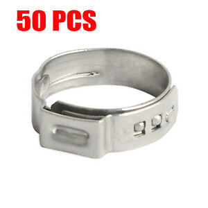 50pcs 5 8 Pex Clamp Cinch Ring Crimp Pinch Fitting Tool Tubing Stainless Steel