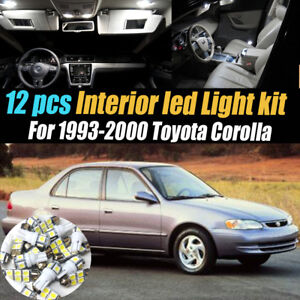 12pc Super White Interior Led Light Bulb Kit Pack For 1993 2000 Toyota Corolla