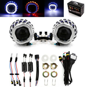 2 8 Car Bi Xenon Hid Projector Lens Kit With Double Angel Eyes Bulbs H1 H4 H7