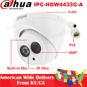 Dahua 4mp Ipc hdw4433c a 2 8mm Built in Mic H 265 Security Poe Ir Dome Ip Camera