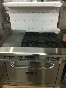 Commercial 4 Burner Stove With Flat Griddle Oven Food Truck Gas Unit Full Size