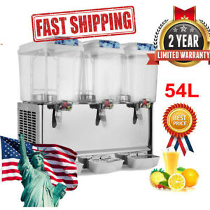 54l Commercial Juice Beverage Cold Refrigerated Drink Dispenser Machine Steel