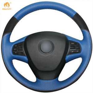 Blue Leather Black Suede Steering Wheel Cover For Bmw F25 X3 2011 2017 F15 X5
