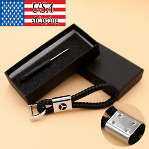 For Mercedes Benz Logo Leather Metal Rope Key Chain Ring Keyring Decoration Gift