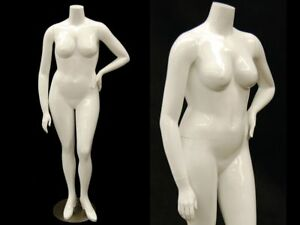 Female Full Body Plus Size Mannequin Headless Fiberglass Glossy White Finish