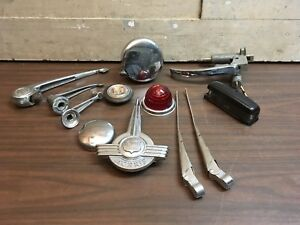 Lot Of Vintage Morris Mini Car Parts Lucas Lights 12 Piece Gas Handle Emblem Cap