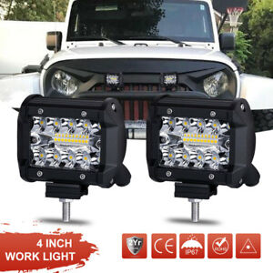 2x 4inch 200w Cree Led Work Light Bars Offroad Spotlight Work Driving Lamp Truck