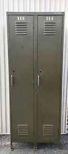 Vintage Steel Metal Double Gym School Storage Lockers Old Military Green Cabinet