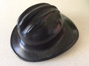 Hard Boiled E d Bullard Co Vintage Hard Hat Fire Fighter Department Helmet Black
