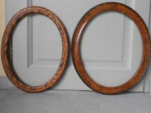 2 Antique French Wood Oval Large Picture Frames 1930 S