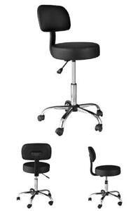 Dental Lab Medical Stool Exam Chair Doctor Office Black Back Cushion Padded Seat