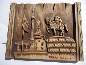 Hand Carved Wood Panel Plaque Landscape Soldier Tirana Albania Hanging Wall