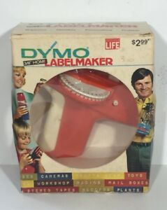 Vintage In Box Dymo 1800 Tapewriter Label Maker Original 1971 Red 3 8 Home