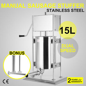 Silver 15l Vertical Commercial Sausage Stuffer 2 Speed Handle Meat Press