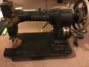 Antique White Rotary Electric Sewing Machine Vintage