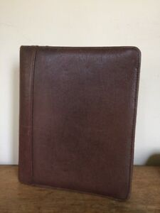 Franklin Covey Classic Top Grain Brown Pebbled Leather Planner Binder 1 5 8