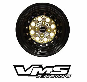 13x9 Vms Racing Revolver Black Gold Rims Wheels 4x100 4x114 Et0 X2