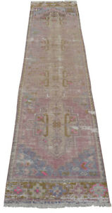 Faded Hand Knotted Wool Turkish Oushak Runner Rug Distressed Rug 1 11 X 9 3