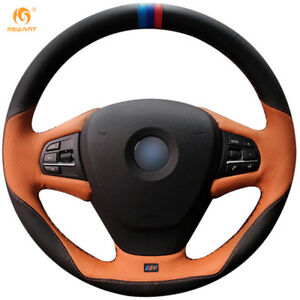 Black Orange Leather Steering Wheel Cover For Bmw F25 X3 2011 2017 F15 X5 2014