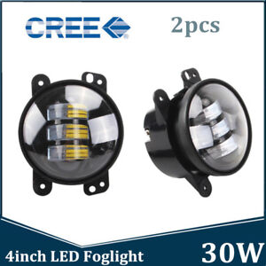 2x 4inch 30w Cree Led Round Fog Lights Driving Lamp For Jeep Wrangler Jk 07 18
