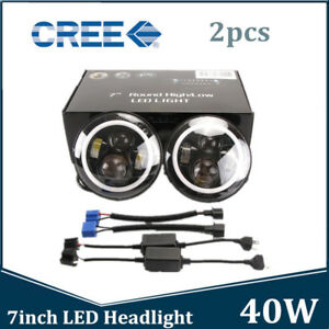 2pcs 7inch 40w Round Led Headlight Halo Angle Eyes For Jeep Wrangler Jk Tj Lj