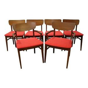 Set Of 6 Mid Century Danish Modern Curved Back Walnut Dining Chairs 4