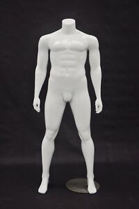 Male Full Body Plus Size Headless Mannequin Fiberglass Glossy White Finish