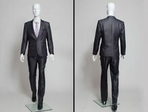Male Full Body Mannequin Glossy White Fiberglass Abstract High End Style