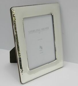 Fine Italian 925 Sterling Silver Handmade Glossy Hammered 5 X 7 Picture Frame
