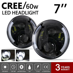 Pair 7 Halo Angel Eye Led Projector Headlight Black For 07 17 Jeep Wrangler