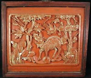 Chinese Chinese Red Gilt Wood Panel Carving Mythical Beast Dragon Trees Bird