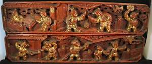 Chinese Red Gilt Wood Pierced Carving Panels 2 Long Ones With People Dancers