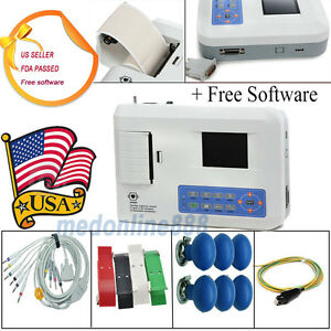 3 Channel 12 Lead Color Ecg Ekg Machine Pc Software Printer 3 4 Days Delivery