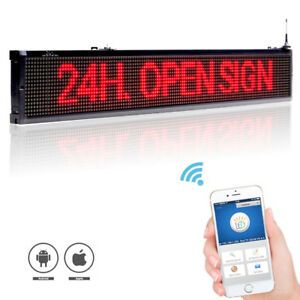 40 X 6 3 Red Led Sign Programmable Scrolling Window Message Display Indoor