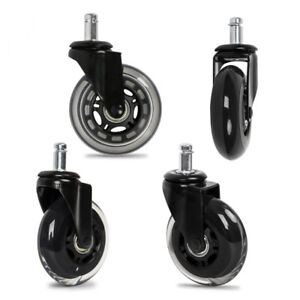 5x Office Chair Caster Rubber Swivel Wheels Replacement Heavy Duty