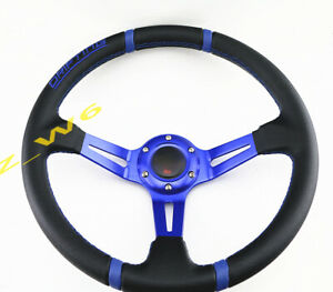 Deep Dish 350mm 6 Hole Leather Blk Stitch Racing Jdm Steering Wheel Horn