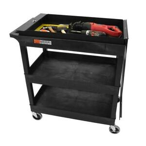 Utility Cart With Wheels Workshop Jobsite 4 casters Locking Lid Tool Carrier New