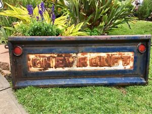 Vintage Original Blue 1957 Chevrolet Truck Tailgate Decorator Collector Alert