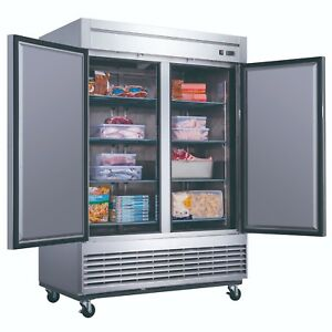 Dukers D55f 40 7 Cu Ft 2 door Commercial Freezer In Stainless Steel