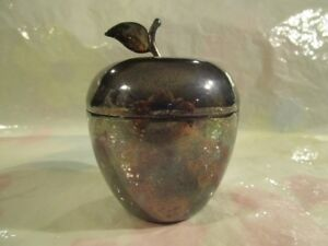 Tiffany Co Makers Silver Plated Apple 2 Piece Trinket Box