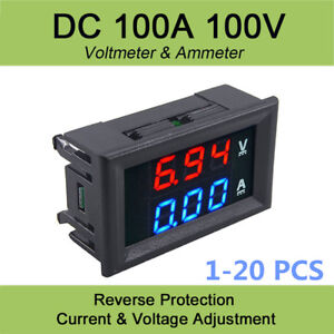 1 20pcs Hot Dc 100v 100a Voltmeter Ammeter Led Amp Dual Digital Volt Meter Gauge