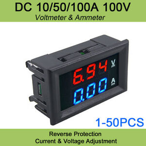 Us Dc 100v 10a 100a Digital Voltmeter Gauge Ammeter Led Low Voltage Tester Dual