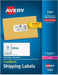 Avery White Shipping Labels W Trueblock Technology For Laser Printers 2 X 4