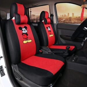 Mickey Mouse Car Seat Cover Full Set Front Back Accessories Interior Cartoon